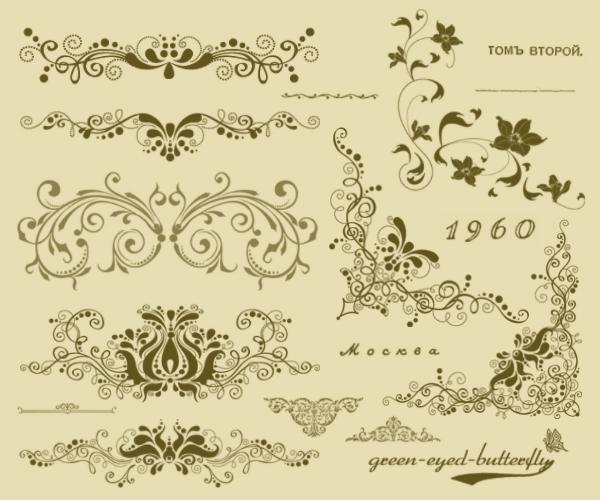 17种复古欧式花纹边框装饰photoshop笔刷素材_psd素材