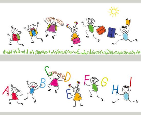 卡通手绘学生快乐上学素材