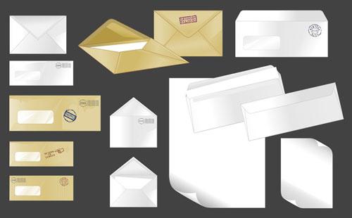 几款信封信件信纸vi空白模板eps