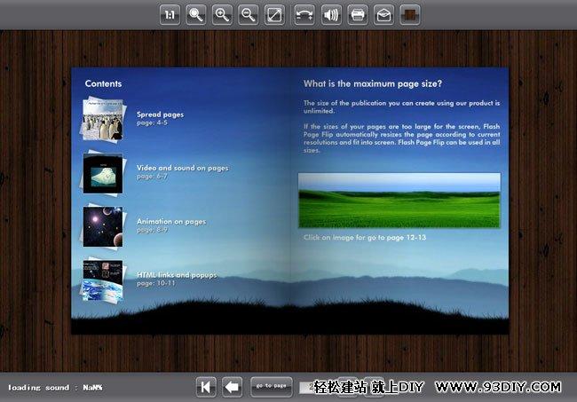 功能:支持放大,缩小,1:1,方向键翻页。 说明: 1、height & width:电子书长宽 ,bgcolor:背景颜色,loadercolor:边框颜色,bgimage:背景图片(有1、2、3可选),panelcolor:导航容器颜色,buttoncolor:按钮颜色,textcolor:文本颜色;page:设置书源图; 2、要求Flash Player 8+ 3、背景音乐存到Mp3文件夹里,默认名称1.