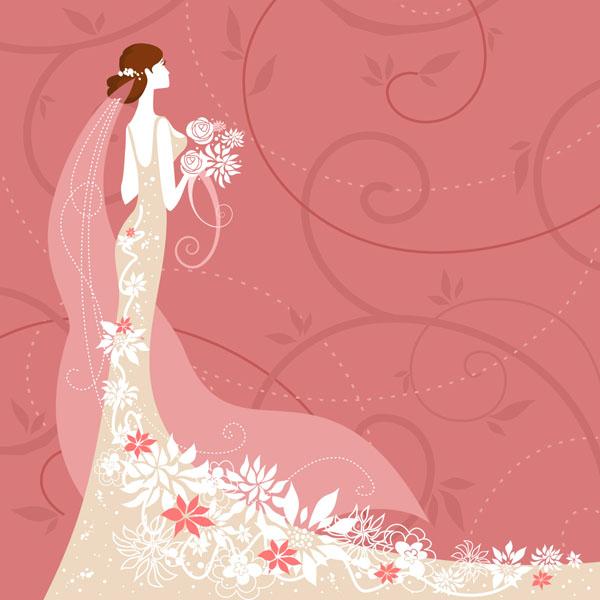 粉色卡通新娘新郎婚礼邀请卡片背景3 矢量素材