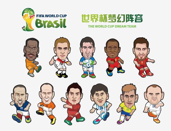 2014巴西世界杯足球明星卡通人物画像