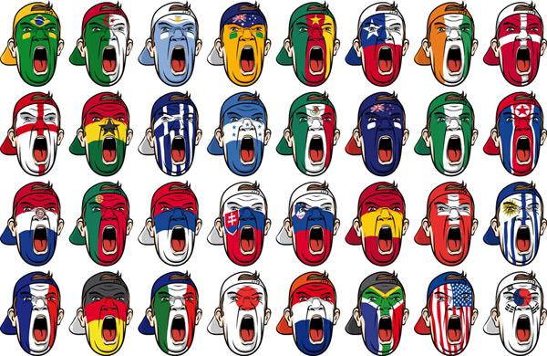 矢量素材    多国足球比赛球迷脸部国旗涂鸦模板_矢量素材   世界杯