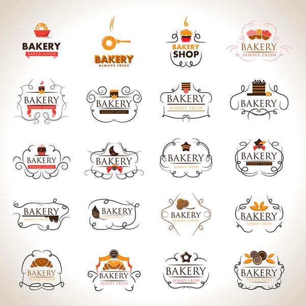 欧式花纹甜点美食图标logo标识设计模板