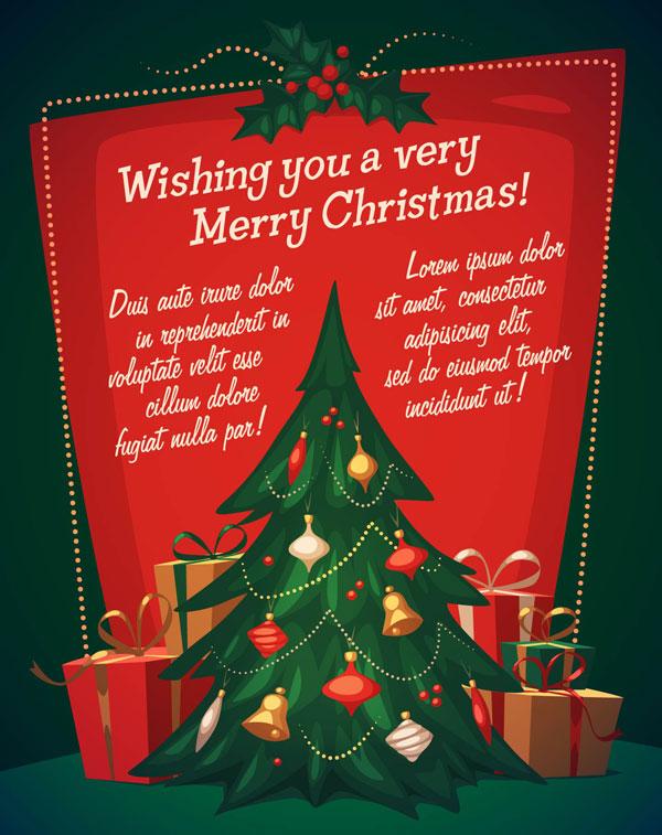 红绿配色商场圣诞活动派对海报背景模板_失量素材