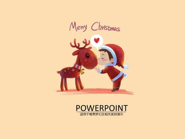 可爱圣诞节主题风格手绘插画节日ppt模板_ppt模板