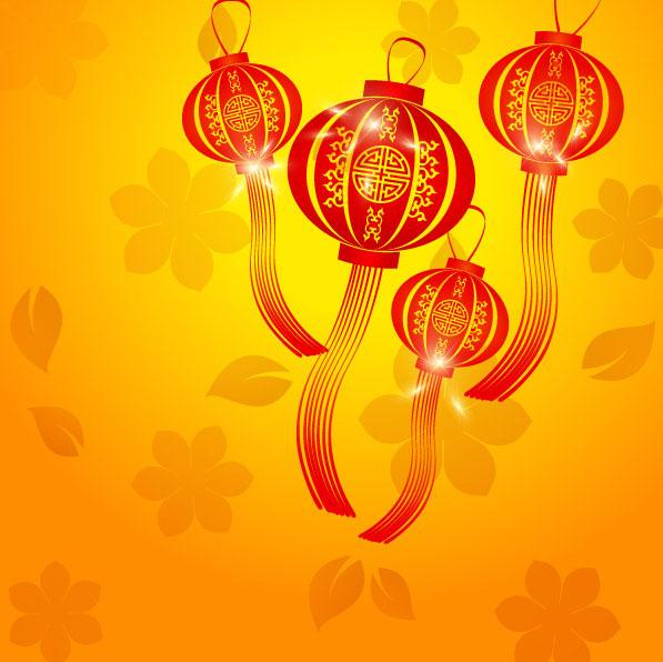 矢量素材    红黄配色喜庆新春灯笼中国风背景