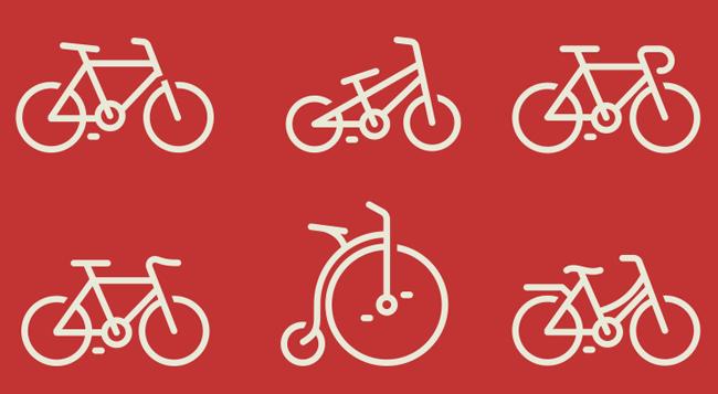 各种款式自行车ui图标psd失量蒙版文件_png图标
