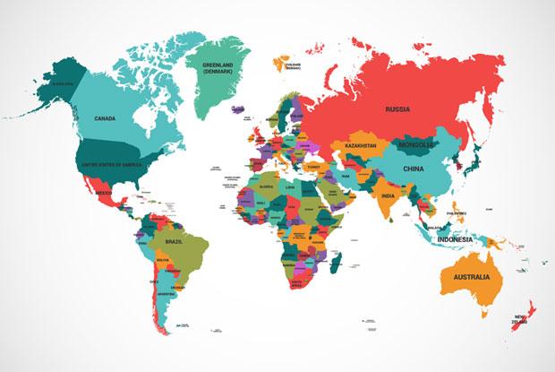 英文配字彩色世界地图平面矢量图_失量素材